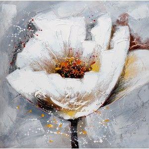 Tableau Moderne Fleur Blanche En 2019 Peinture Fleurs