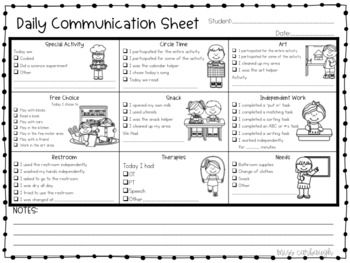 Daily Communication Sheets For Ecse Editable Parent Teacher
