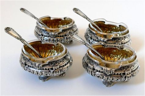 Pin On Antique French Sterling Silver Condiment Set Salt Cellars