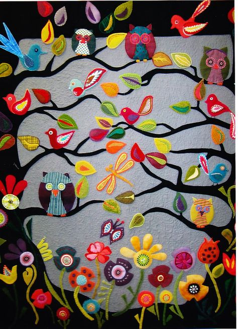 Hooterville fabulous wool applique quilt PATTERN by kate54