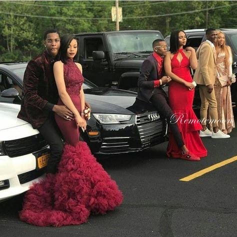 Burgundy Halter High Neck Off Shoulder Mermaid Prom Dresses for Black Girls Ruched Puffy Skirt Long Train Backless African Evening Party Dress 2018 on Storenvy