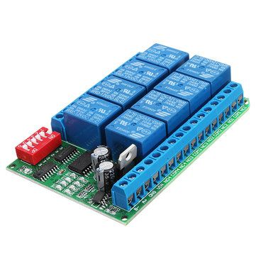 8CH 12V Modbus RTU RS485 Relay Module Switch Board for PLC Lamp LED PTZ Camera