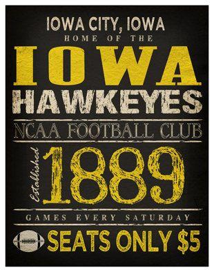 Iowa Hawkeyes Poster 11x14 Iowa Football Print By Thelemonpeel