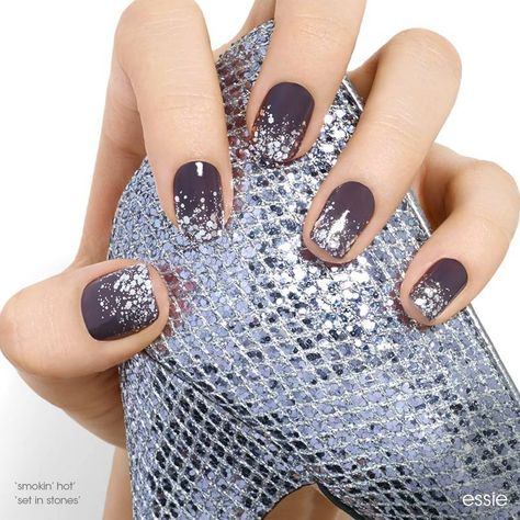 crystal chic by essie - super-chic dreams do come true. mirror ball chaos over stone-cold fox gray create an icy hot look perfect for a night to remember. Essie colors used: Smokin' Hot and Set in Stones.