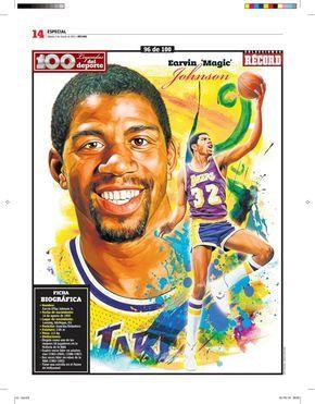 Earving Magic Johnson 100 Leyendas Del Deporte 100 Sports Legends By Jesus R Sanchez Via Behance Magic Johnson Nba Art Sports Art