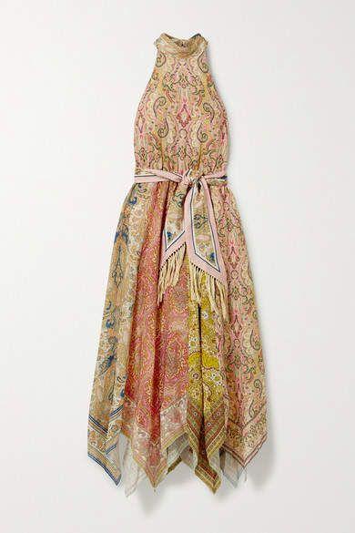 Zimmermann Freja Paisley-print Linen Halterneck Midi Dress - Light brown #Sponsored , #Sponsored, #print#Linen#Paisley