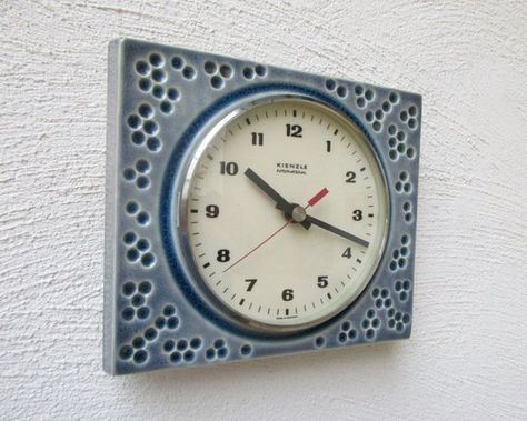 Vintage Kienzle Pale Blue Ceramic Wall Clock Light Blue Wall Blue Wall Clocks Wall Clock Light Blue Ceramics