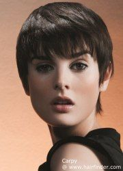 Very short hairstyle with a fringe