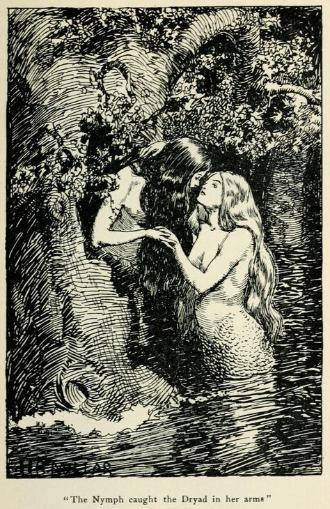 ~ 'The Nymph caught the Dryad in her arms.', The New World Fairy Book by Howard Angus Kennedy. Illustration by H. Millar, London, J. Dent & Co. Mermaid Illustration, Art Et Illustration, Vintage Mermaid, Mermaid Art, Mermaid Paintings, Tattoo Mermaid, Mermaid Tails, Arte Obscura, Water Nymphs
