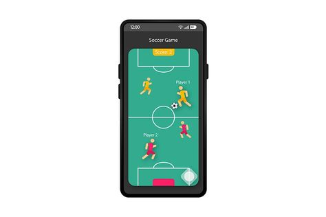 Soccer game app smartphone interface