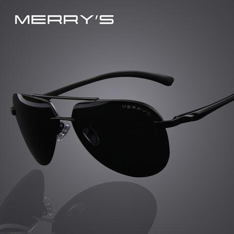 MERRY S Merek Pria 100% Terpolarisasi Aluminium Paduan Bingkai Kacamata  Fashion pria Mengemudi Sunglasses S 8281 bb2eddcee0