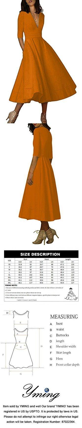 YMING Women/'s Elegant Cocktail Maxi Dress Deep V Neck 3//4 Sleeve Vintage Pleated Dress