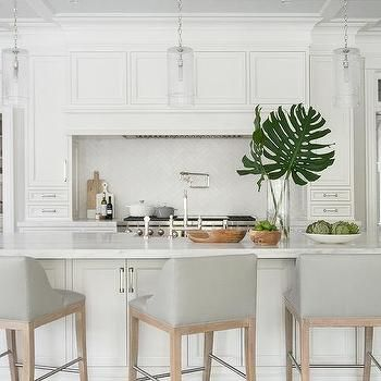Dove Gray Leather Counter Stools With White Island Modern