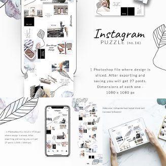 Instagram Puzzle Template Watercolor Instagram Grid Instagram