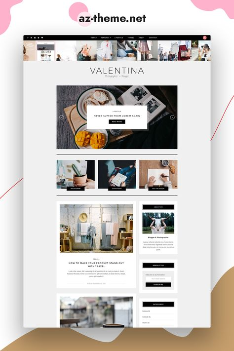 Valentina A WordPress Theme for Bloggers - Responsive WordPress Template - Clean and Minimal Blog