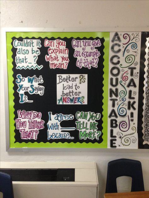 Accountable Talk bulletin board... Thanks Pinterest!