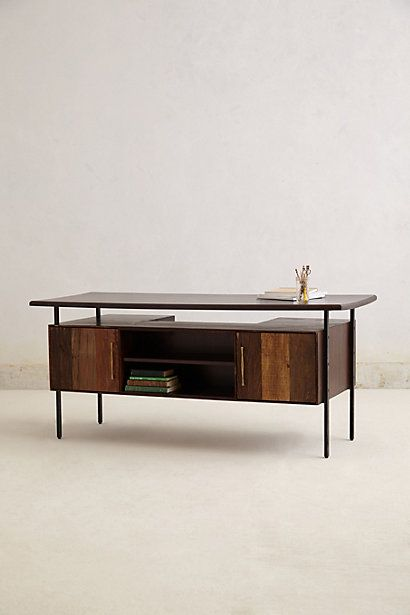 desk by Anthropologie. LOVE that it has a book shelf in the side that faces the room.
