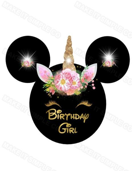 Birthday Girl Minnie Mouse Unicorn Iron on Transfer - MAKE IT SIMPLE
