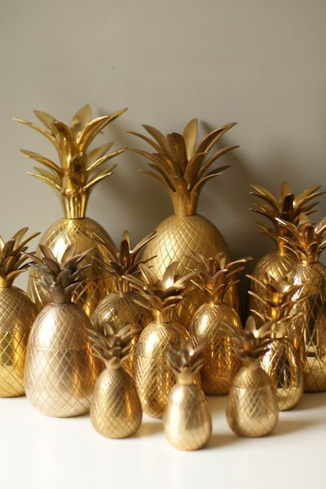 Gold brass pineapples