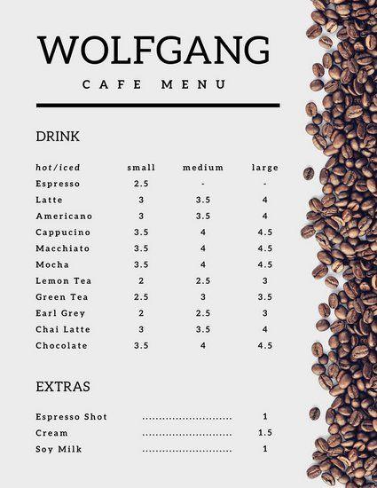 White Minimalist Coffee Beans Cafe Menu Coffee Shop Menu Coffee Menu Cafe Menu