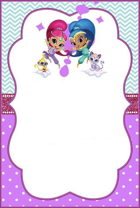 Shimmer And Shine Invitation Card Invitation Card Birthday Birthday Invitation Card Template Bday Party Theme