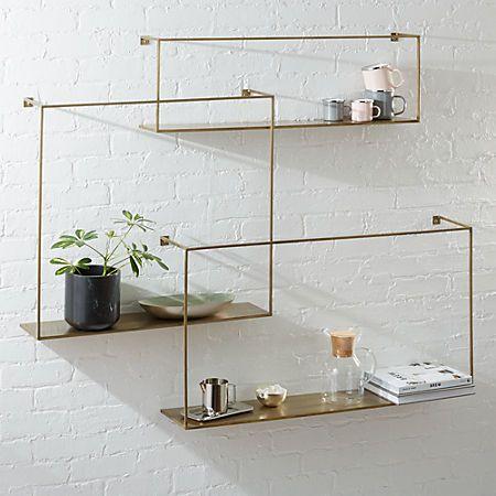 Antiqued Brass Large Floating Shelves Set Of 3 Reviews Large