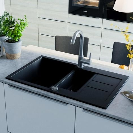 Vidaxl Granite Kitchen Sink Double Basin Black Black Granite Kitchen Sinks Black Kitchen Sink Sink
