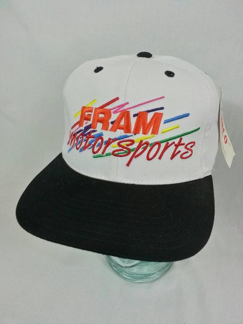 aa69f3d8 Fram Motor Sports Snapack Hat by Annco Old Stock New Nascar Racing FREE  SHIPPING Vintage 90s Deadstock | vintage hats