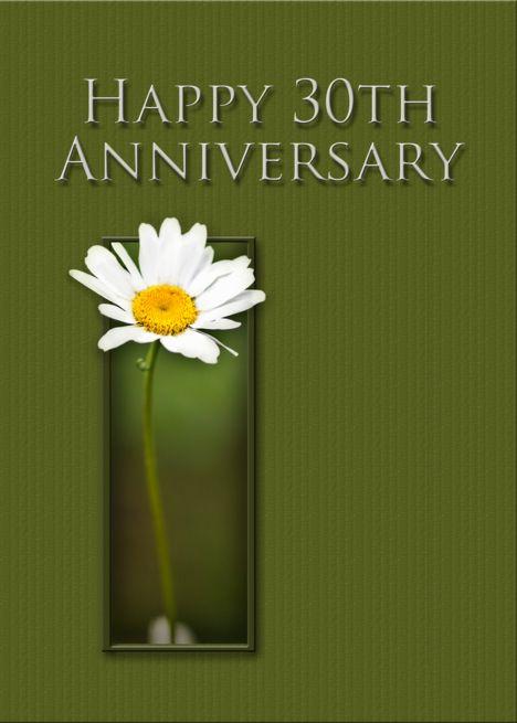 Happy 30th Anniversary White Daisy On Green Background Card Ad Spon Annivers Happy 10th Anniversary Happy 30th Anniversary Anniversary Party Invitations