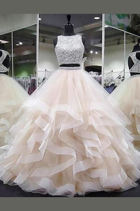 Prom Dresses Long, Evening Dresses Two Piece, Open Back Evening Dresses, Prom Dresses Sleeveless Prom Dresses Prom Dresses 2019 Pretty Quinceanera Dresses, Sequin Prom Dresses, Pretty Prom Dresses, Cheap Prom Dresses, Ball Dresses, Dress Long, Ball Gown Prom Dresses, Champagne Quinceanera Dresses, Long Dresses