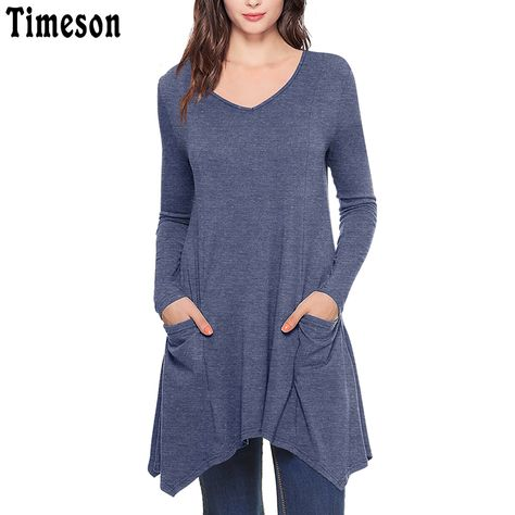 ddc07b2464cd9 Womens V Neck Asymmetrical Hem Long Sleeve Knitted Long Tunic Tops with Pockets  Black Casual Plus Size Shirt Solid Blouse Female-in Blouses   Shirts from  ...
