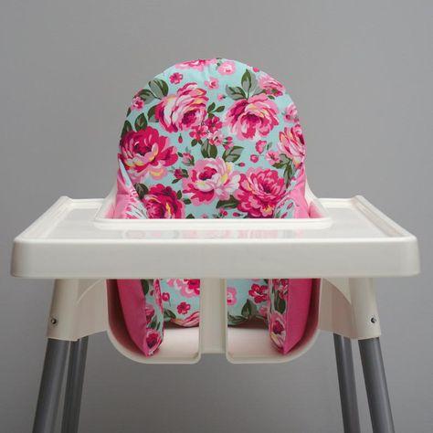 Cute Floral IKEA High Chair Cover IKEA Antilop Cushion Pink