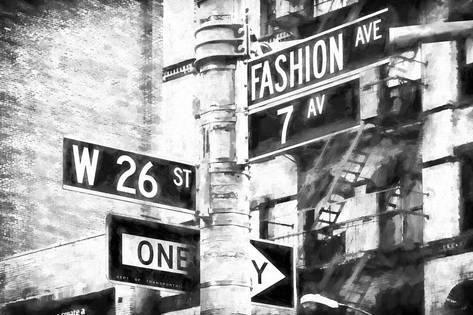 Fashion Avenue Sign Giclee Print Philippe Hugonnard Art Com Black And White Landscape Black And White City White Photography