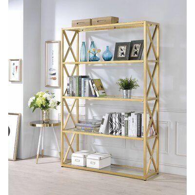 Everly Quinn Giuliani Etagere Bookcase Wayfair Glass Bookshelves Etagere Bookcase Gold Living Room Furniture