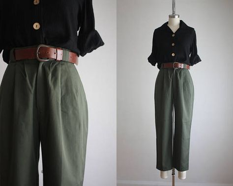 olive twill pants Arab Fashion, Hipster Fashion, Retro Fashion, Korean Fashion, Boho Fashion, Fashion Outfits, Aesthetic Fashion, Aesthetic Clothes, Choice Clothes