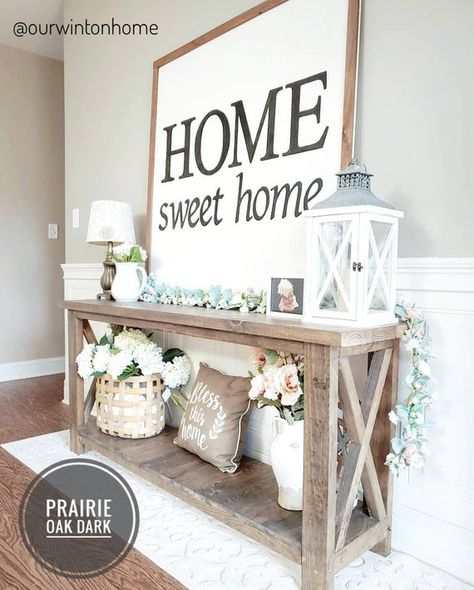 Home Sweet Home Wall Decoration Ideas For Rustic Farmhouse - Best Farmhouse Decor Ideas: Beautiful, Modern and Classic Country Style Home Decorating Ideas and Designs Dekor Ideen 75 Best Rustic Farmhouse Decor Ideas + Modern Country Styles Modern Country Style, Country Style Homes, Rustic Modern, French Country, Rustic Elegance Decor, Country Style Living Room, Decoration Hall, Foyer Table Decor, Home Ideas Decoration