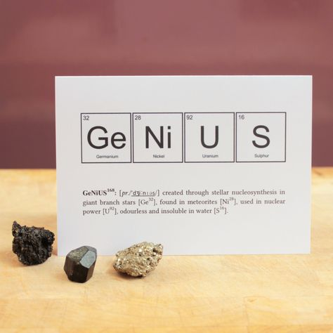 Humourous Nerd or Genius Periodic Table of Elements Greeting Cards. £3.00, via Etsy.