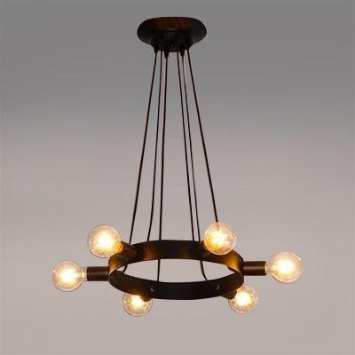 Industrial 6 Light Multi Light Pendant In Open Bulb Style Black