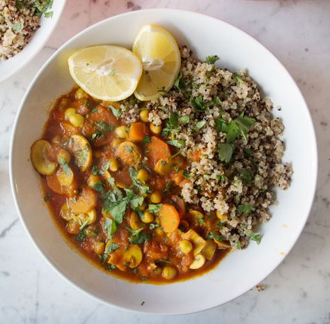 Deliciously Ella's Sweet Potato, Lentil & Coconut Curry // Serves 6 // 2 large sweet potatoes (approx 1.5kg); 2 cups black olives (replace with cashews +/or sultanas???); 500g lentils; 2 tins coconut milk; 2 tins tomatoes; handful fresh coriander; 1 tbsp turmeric; 1 tbsp cumin; 1 tbsp ground ginger; salt and pepper; 1 lemon // Serve with quinoa or couscous???