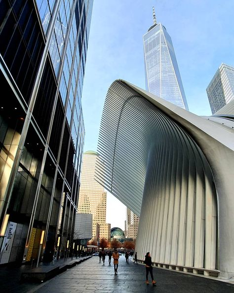 The oculus consists of white ribs that interlock high above the ground. #nycity #soulnightevents #hiphop #thebronx #america #city #midtown #picoftheday #streetphotography #thebigapple #brooklynbridge #luxury #travelphotography #worldtradecenter #timesquare #bhfyp #longislandcity #miami #yonkers #skyline #nycphotographer #food #party #soho #foodie #nyclife #uppereastside #manhattannyc #life #instagramnyc