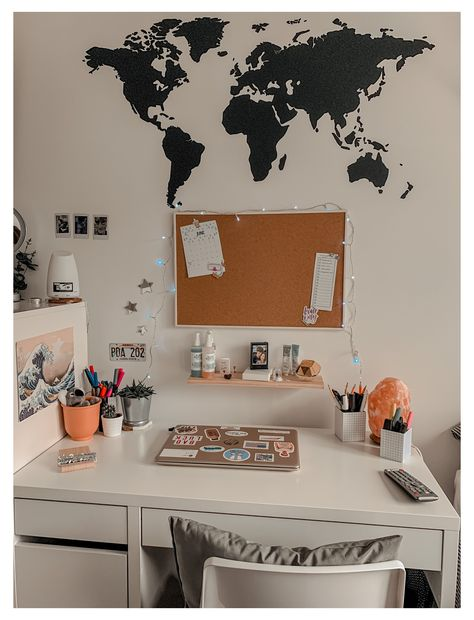 desk area #white #desk #aesthetic #whitedeskaesthetic White Desk Setup, White Desk Decor, Cork Board Ideas For Bedroom, Room Ideas Bedroom, Bedroom Decor, Girls Bedroom, World Map Bedroom, World Map Decor, Study Room Decor