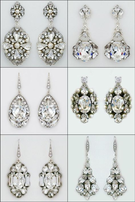 """Bridal earrings, crystal bridal earrings, bridal chandelier earrings.   Love the screen sirens of """"Old Hollywood""""? Love sparkle & glamour? Channel your """"Hollywood Glamour"""" with a walk down the aisle in these amazing crystal earrings designed by Cheryl King Couture."""