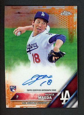 2016 Topps Chrome Orange Refractor Kenta Maeda Dodgers Rc Rookie