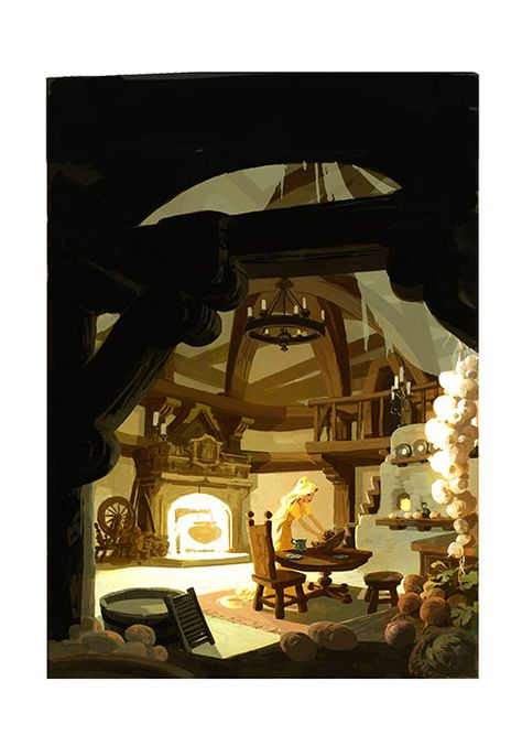 this was the newer Tangled tower interior that was supposed to be a bit warmer in mood, but still windowless