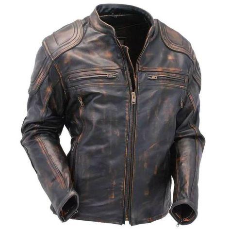 Distressed Brown Vintage Cafe Racer Mens Biker Real Leather Jacket - L / REAL LEATHER