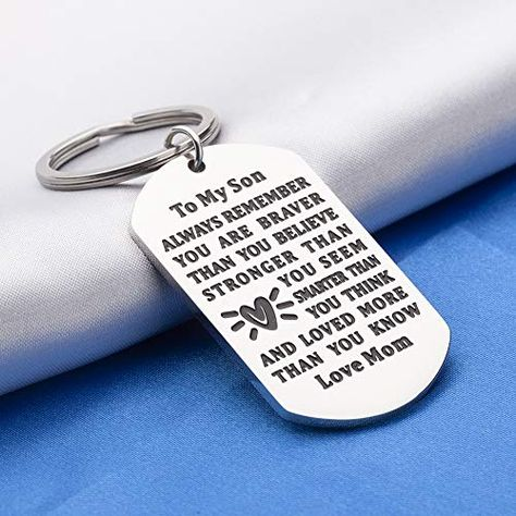 Son Keychain, Son Gifts from Mom, 2021 Graduation Gifts for Son from Mom Inspirational Key Chain Keyring Jewelry for Teen Boys Birthday Gifts - Always Remember You Are Braver Than You Believe | Jodyshop