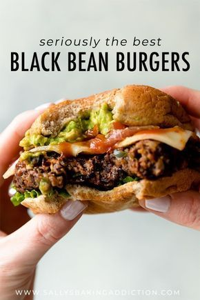 The BEST black bean burgers grilled or baked! Meat lovers went crazy for these veggie burgers. Lots of flavor with a sturdy meaty texture. Grill or bake the black bean burgers! Recipe on sallysbakingaddic The post The Best Black Bean Burgers Ive Ever Had Veggie Dishes, Veggie Recipes, Whole Food Recipes, Healthy Recipes, Recipes With Veggie Burgers, Vegetarian Burgers, Homemade Veggie Burgers, Salad Recipes, Veggie Burger Patty