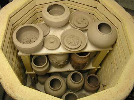 Loading a pottery kiln with Greenware