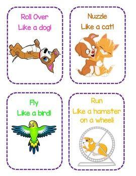 Pet Themed Gross Motor Movement Cards Pets Preschool Pets Preschool Theme Animal Activities For Kids