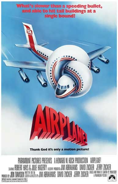1980:Airplane! satirical parody film stars Robert Hays and Julie Hagerty features Leslie Nielsen, Robert Stack, Lloyd Bridges, Peter Graves, Kareem Abdul-Jabbar The film is a parody of the disaster film genre, particularly the 57 film Zero Hour!, from which it borrows the plot and the central characters, as well as many elements from Airport 75. The film is known for its use of surreal humor and its fast-paced slapstick comedy, including visual and verbal puns and gags gross over $183…